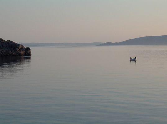 Kroatie, eenzame visser.