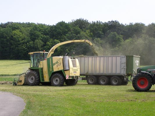 Krone BIG X V12 beim Gras hechseln