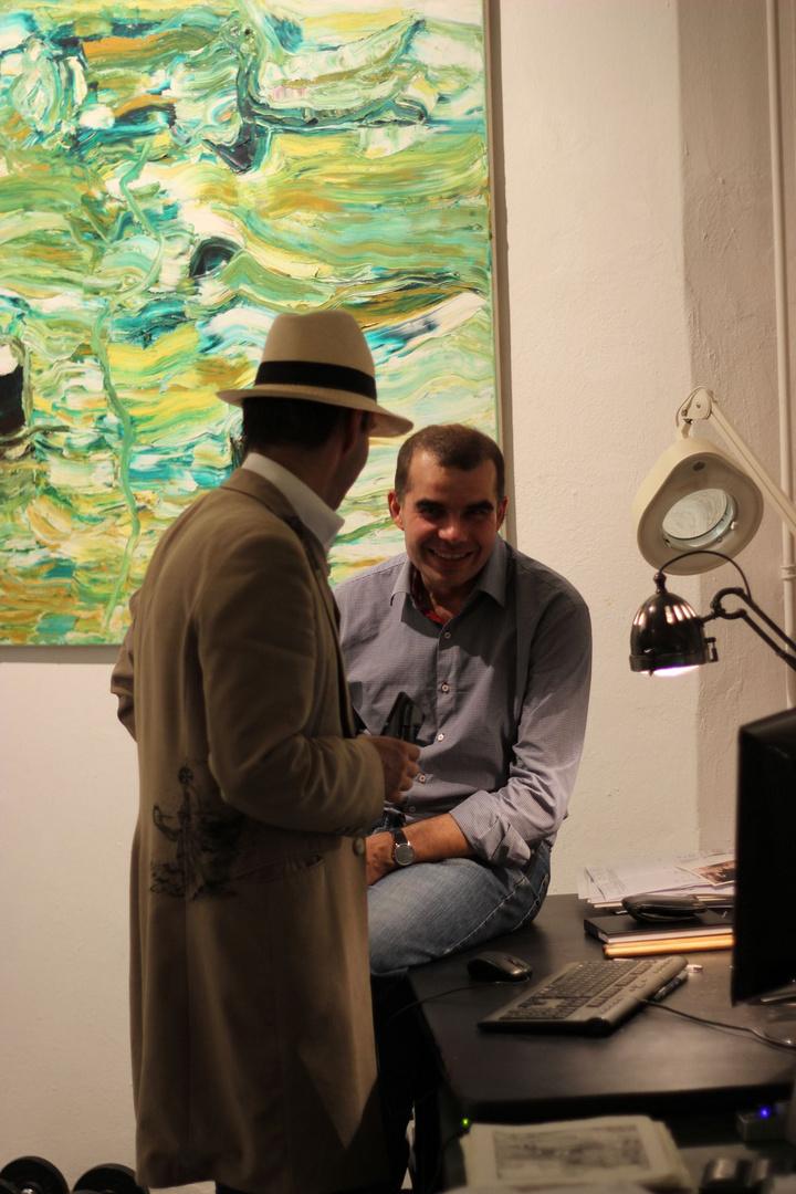 Künstlergespräch Mané Wunderlich und Peter Lindenberg im Atelier Genthinerstraße 11 Berlin