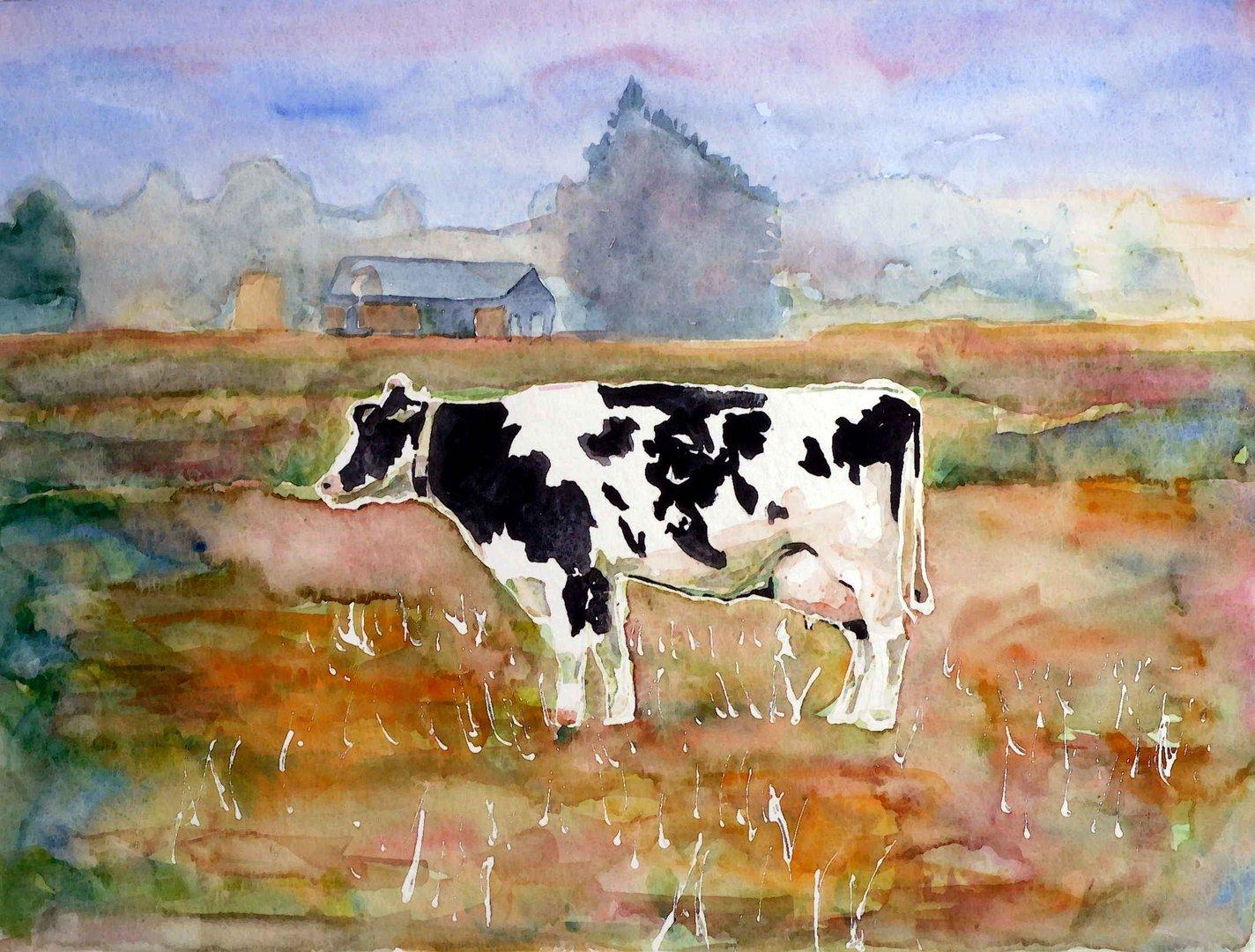 Kuh in einem Aquarell