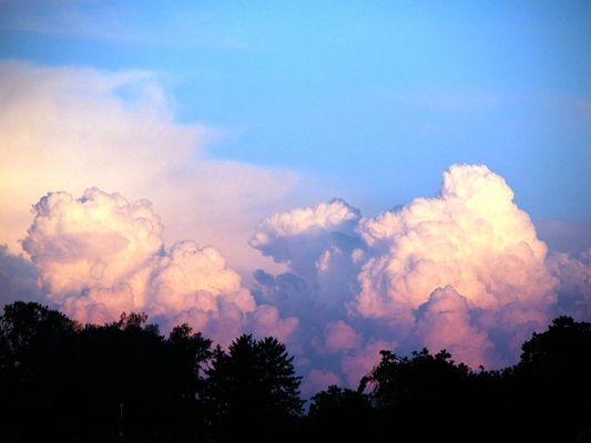Kumuluswolken im Abensrot