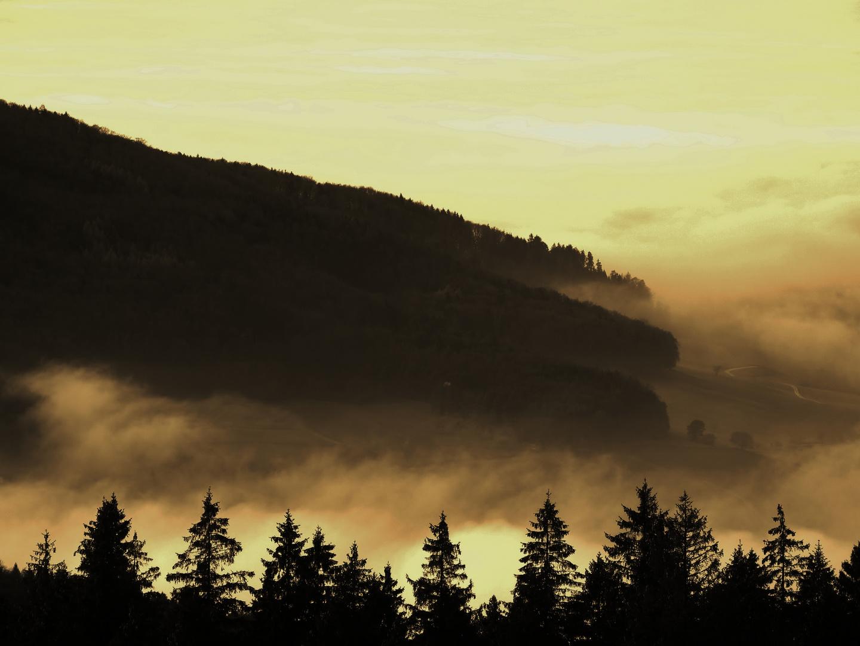 kurz bevor es dunkel wird, löst sich der Nebel auf ........