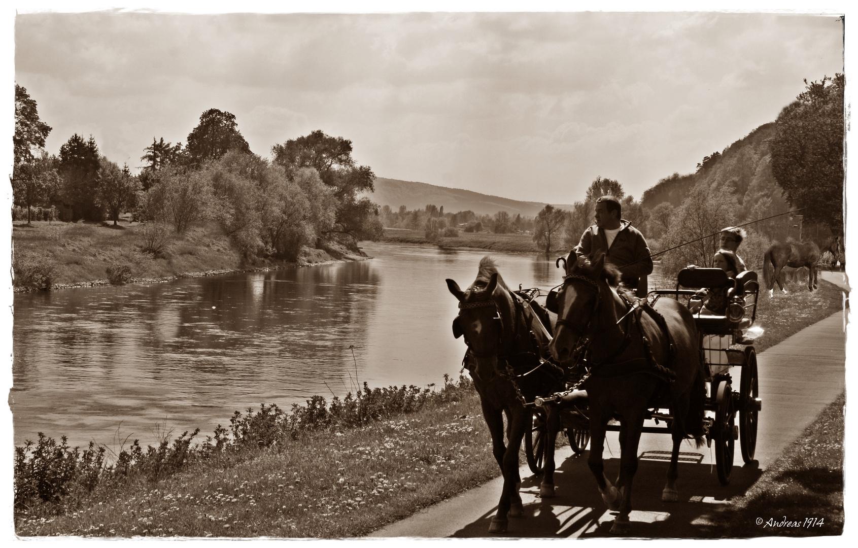 """Kutsche an der Weser 1914 """"Fake"""""""