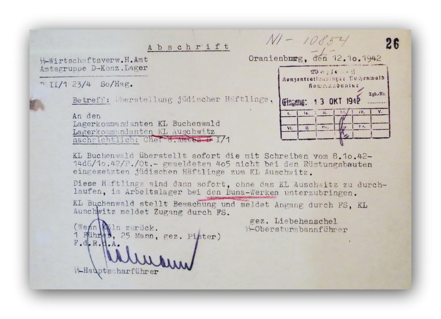 KZ Buchenwald (01) - Überstellung