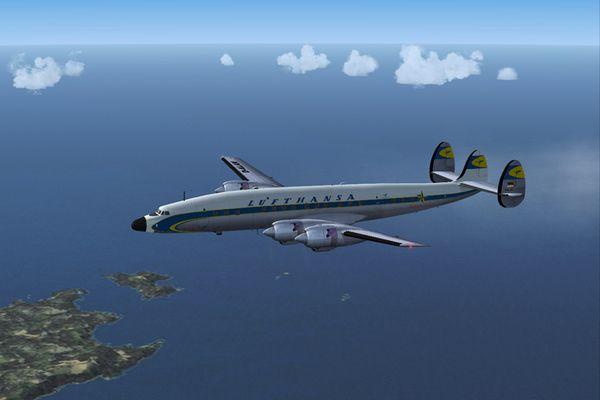 L1649 'D-ALAN' am Morgen vor Shannon, Irland, LH 401 von New York nach Düsseldorf, 1958