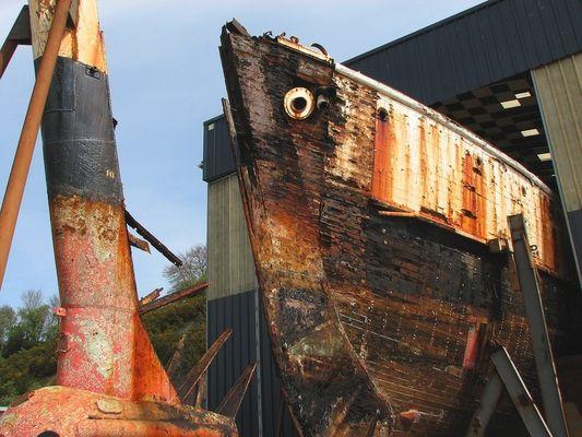 La Calypso en chantier à Concarneau