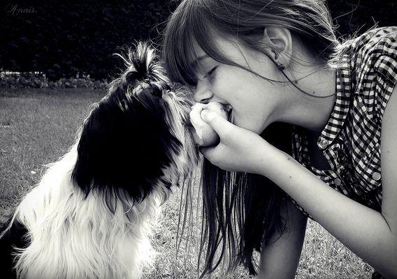 La gourmandise du chien et le partage de son maître. :)