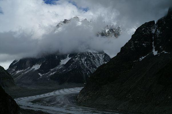 La Mer de Glace, Mont Blanc, sous les nuages