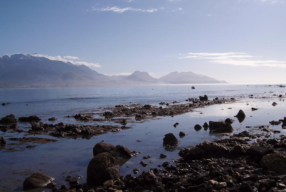 la mer le matin très tôt à Kaikura en Nouvelle Zelande