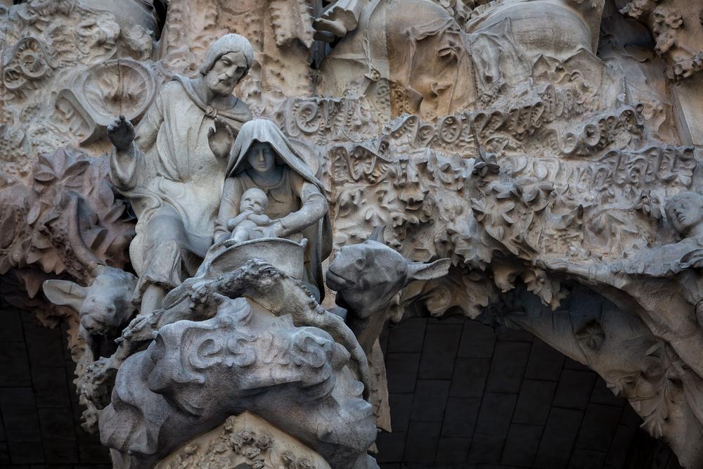 La nativité au dessus du Portail du même nom de la Sagrada Familia