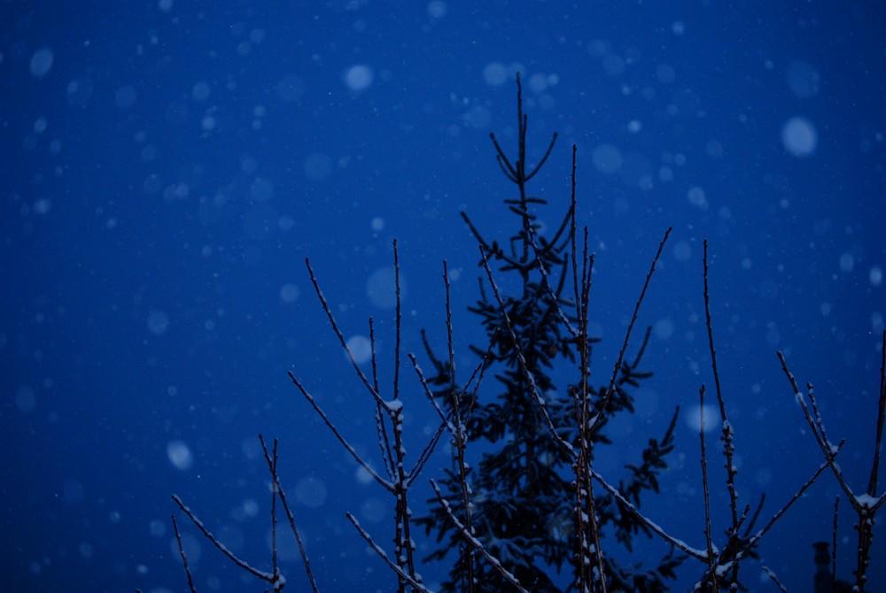 La neige et la nuit tombent ensemble