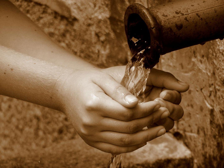 La pureza del agua en manos de un niño
