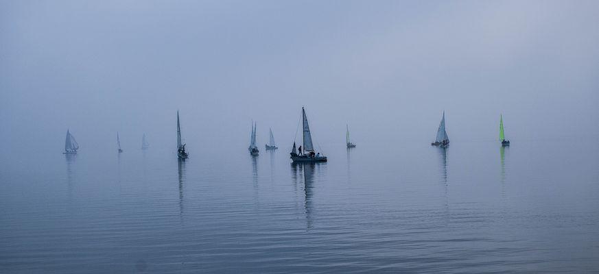 La regata nella nebbia