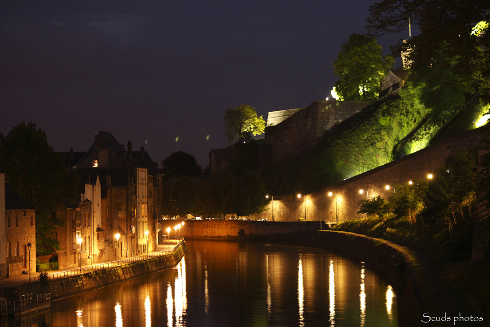 La Sambre et la citadelle de Namur by night