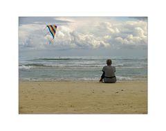La signora alla spiaggia con l´aquilone colorato