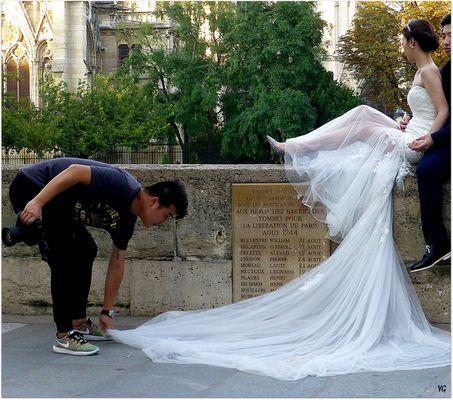 La traîne de la mariée...