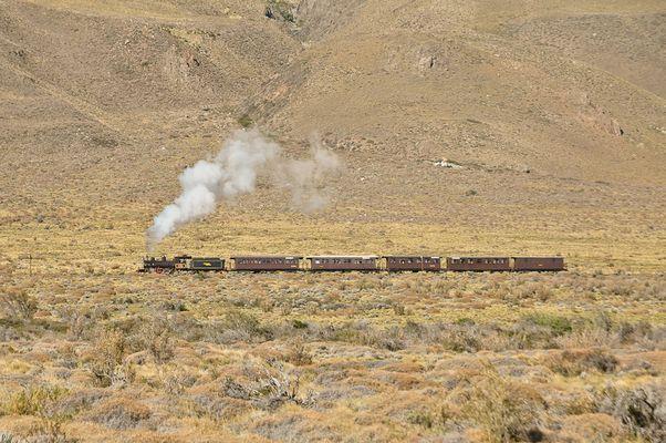 La Trochita unter Volldampf in der Pampa Argentiniens