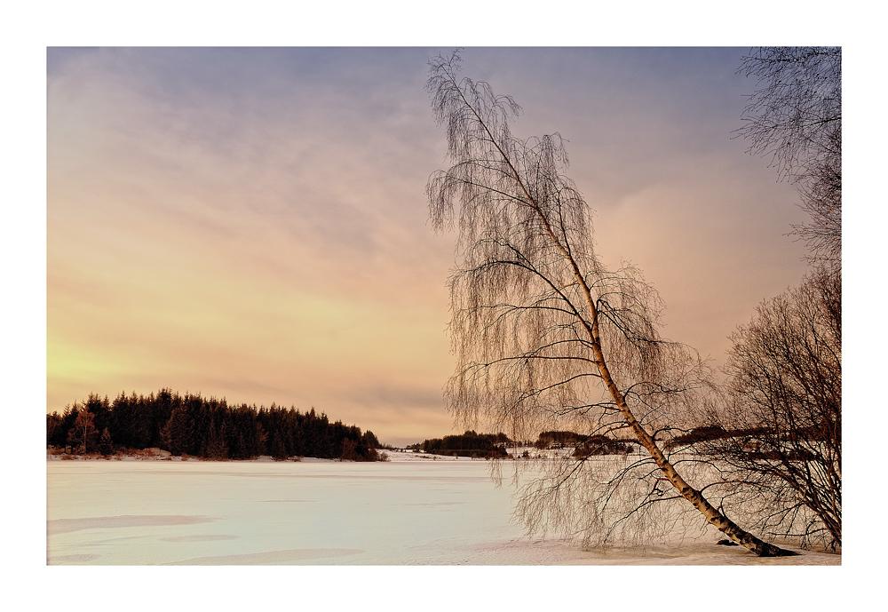 Lac gelé sous le soleil couchant 2