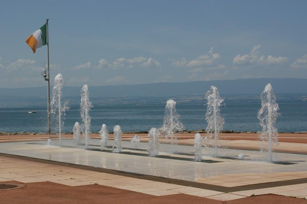 Lac Léman et jets d'eau