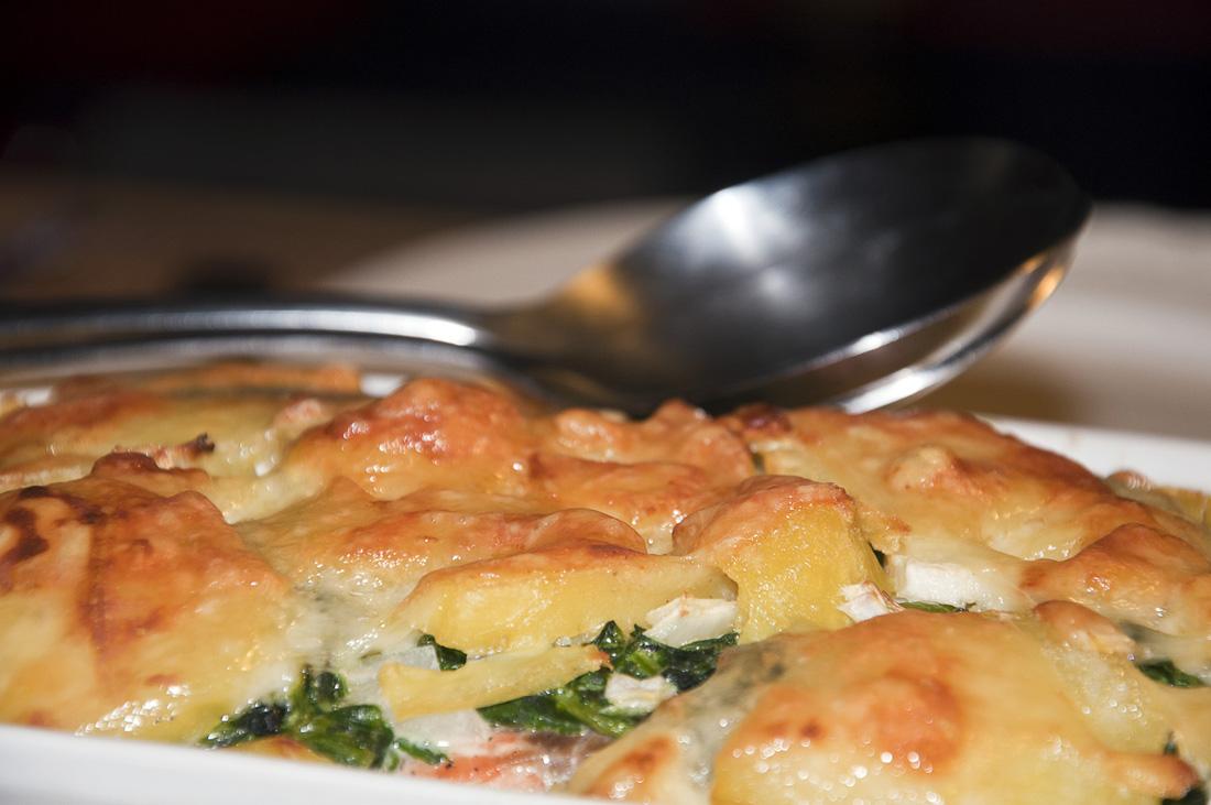 Lachs-Spinat-Kartoffelgratin