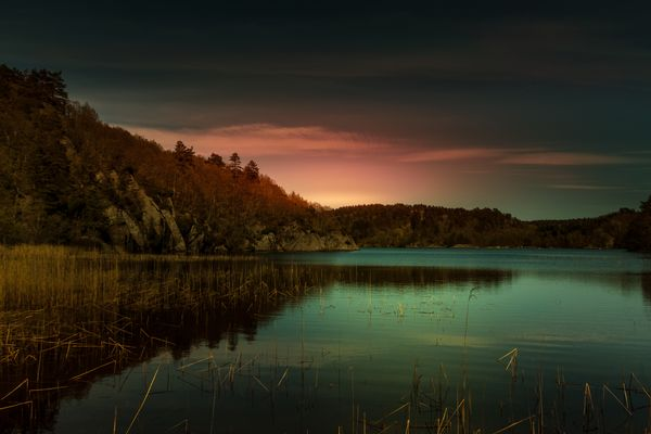 lake in norway colorfull lights