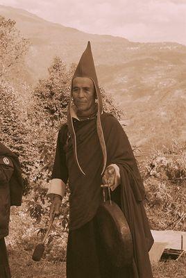 Lama performing a Buddhist Ritual, Sikkim (1)