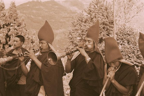 Lamas performing a Buddhist Ritual, Sikkim (2)