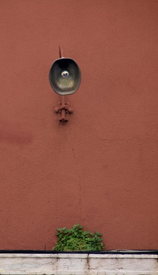 Lampe vor rosaroter Wand