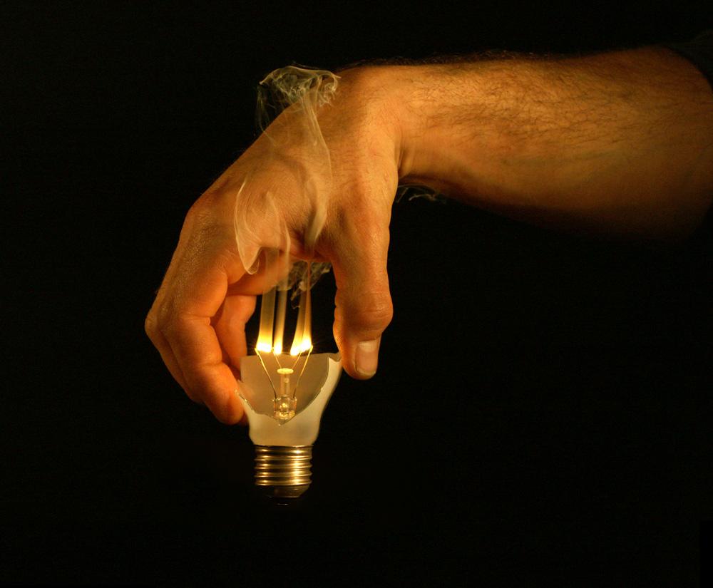 Lampenschirm mit Glühbirnendefekt