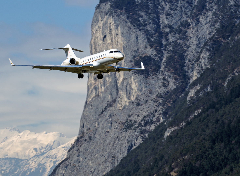 Landeanflug am Innsbrucker Flughafen