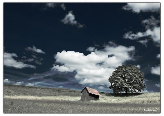 landscape in alfdorf - south of germany - , infrared color version