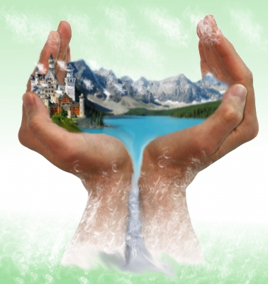Landschaft in der Hand