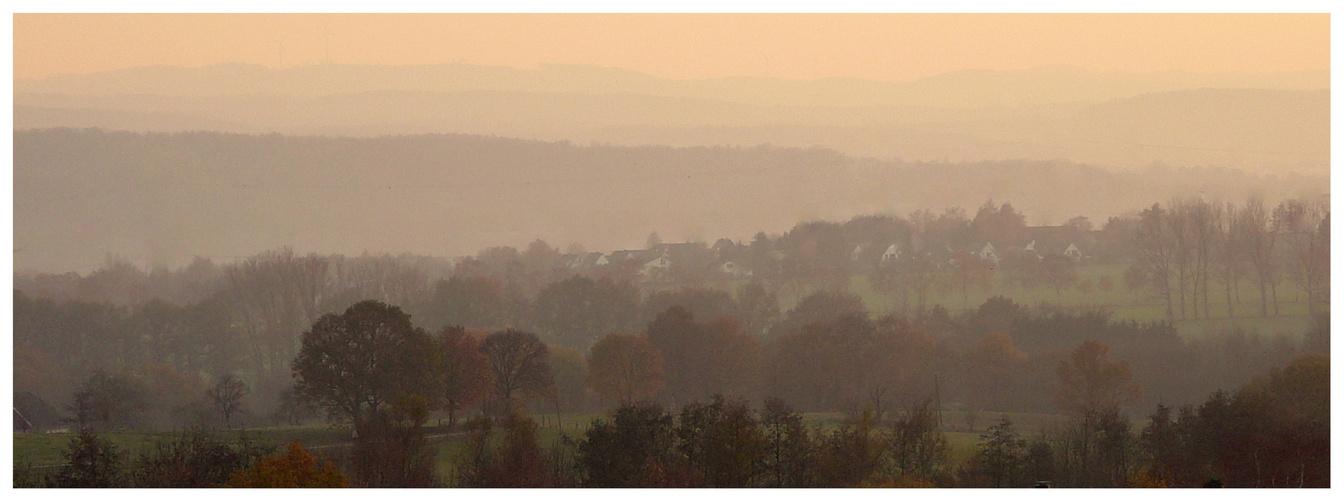 Landschaft in zartem Nebel
