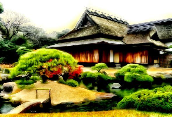 landschaft mit haus japan - Haus Japan