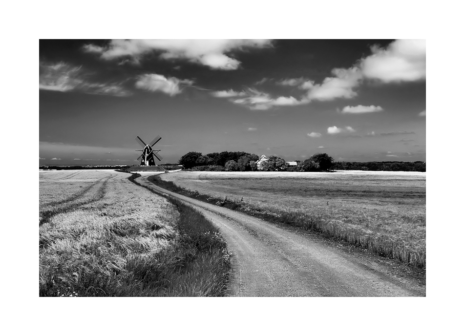 Landschaft mit Weg und Mühle