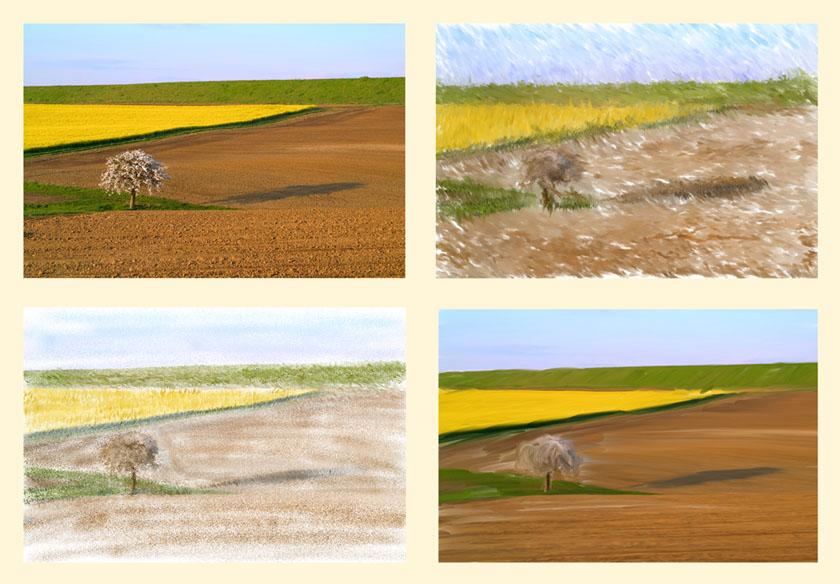 Landschaft vor und nach Painter