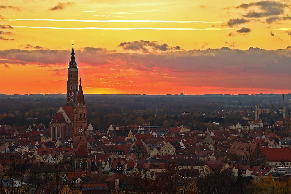 Landshut beim Sonnenuntergang