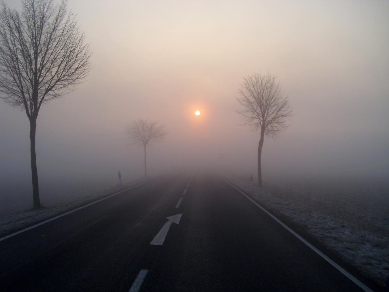 Landstraße bei Schöppenstedt, Morgendlicher Nebel, bzw. Sonnenaufgang im Nebel, März 2011