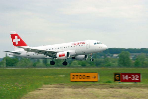 Landung einer Swissmaschine