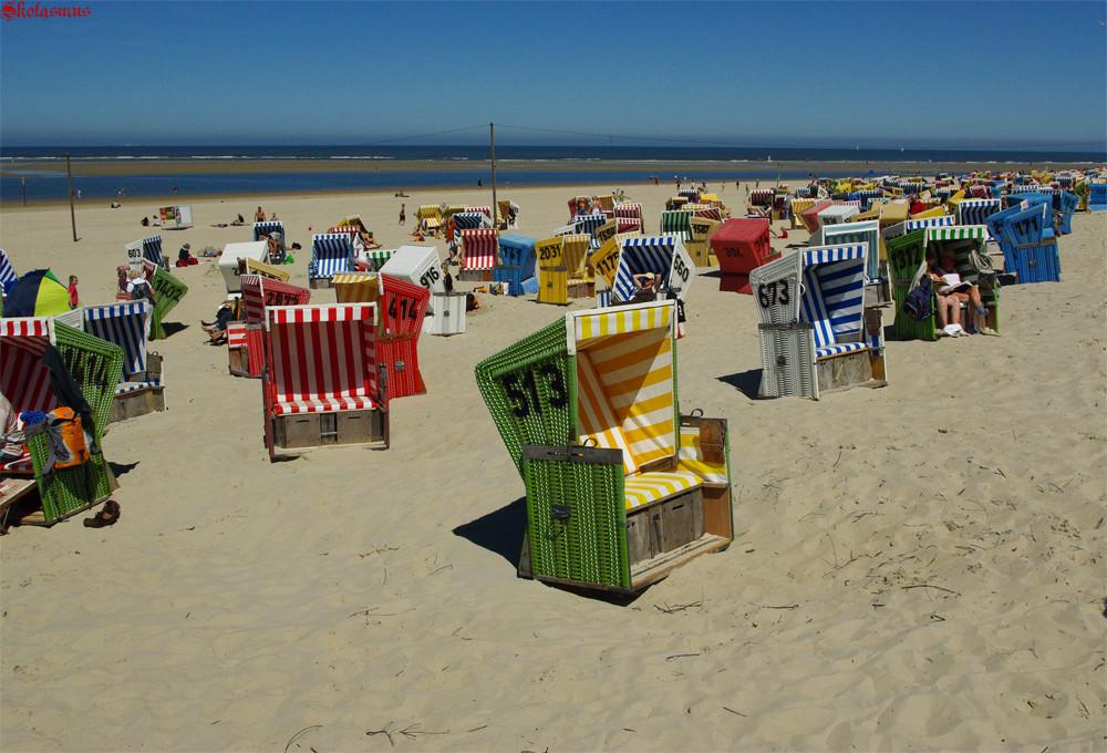 Strandkörbe  Langeoog Strandkörbe Foto & Bild | sand, himmel, natur Bilder auf ...