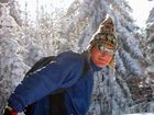 langlauf-ski im sonnenschein