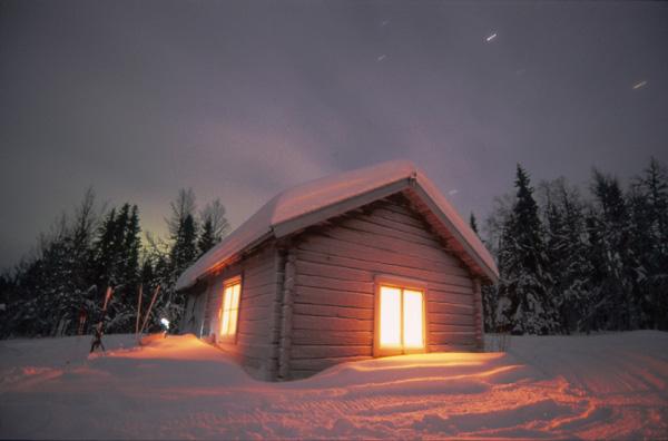 Lappland, Hütte bei Nacht, Langzeitbelichtung