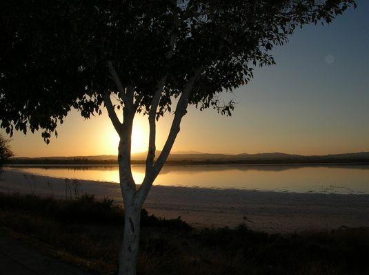 Larnaca, Abendstimmung am Salzsee
