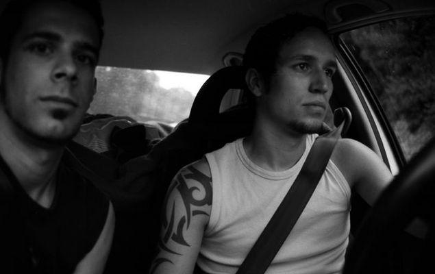 Lars und ich im Auto