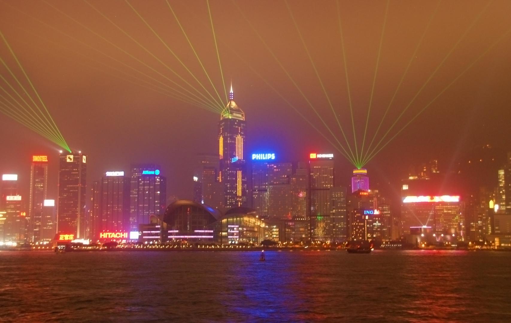 Lasershow über Hong Kong
