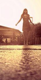 Laternenlauf durch den Regen.