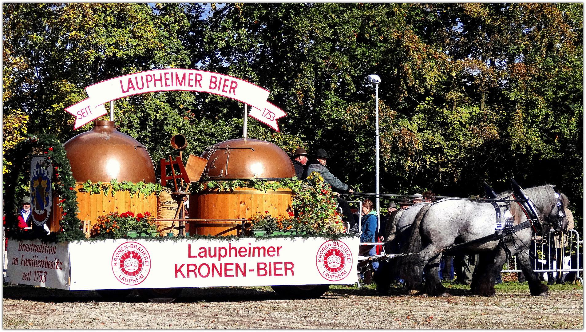 laupheimer kronen-bier beim kaltblutpferdemarkt
