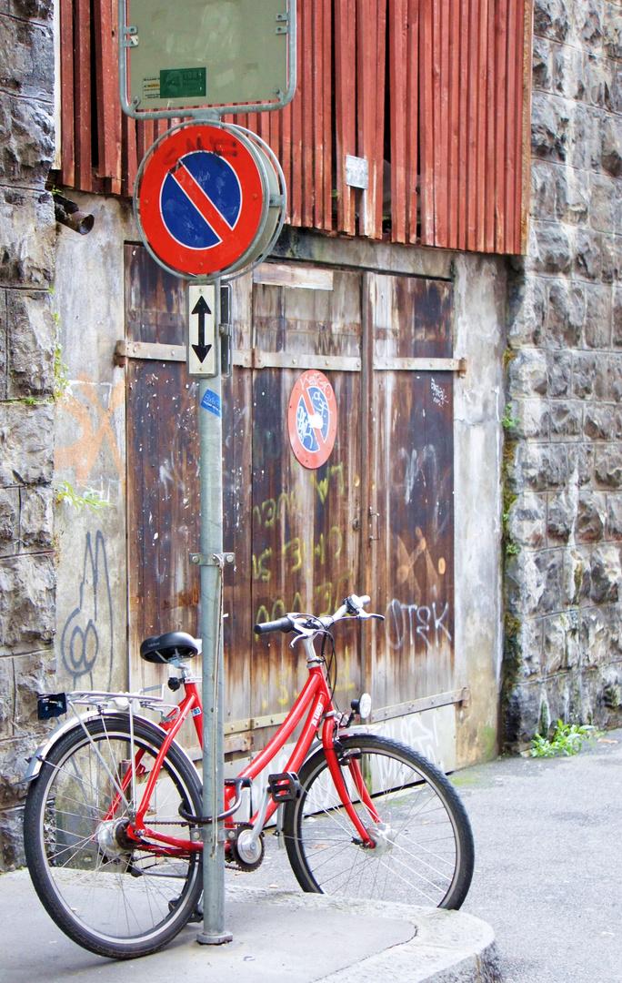 Lausanne, Schweiz, Altstadt, Fahrrad