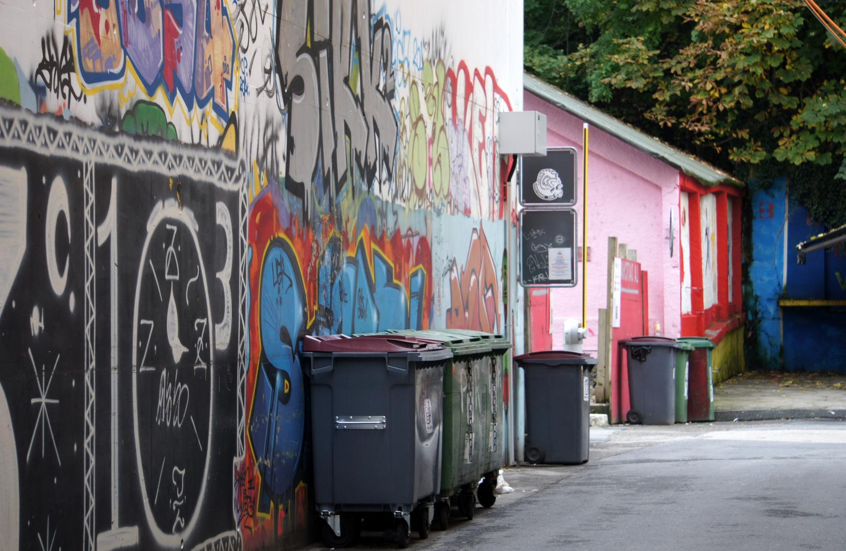 Lausanne, Schweiz, Lausanne-Flon, Hinterhausansicht, Müllcontainer, Mülleimer