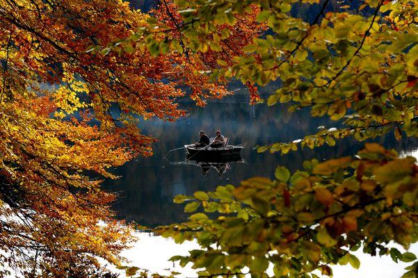 L'automne au lac de Bonlieu - Jura.